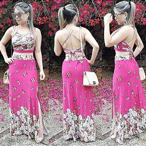 Conjunto saia com fenda e cropped pink