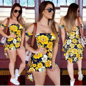 Conjunto mullet short mais blusa yellow