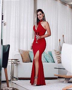 Vestido red com frenda e decote em gota