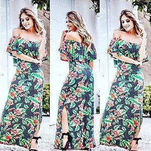 Vestido ciganinha estampa floral naby blue & green