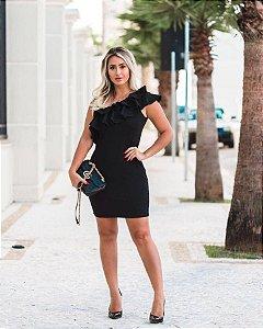 Vestido em crepe black ombro só