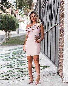 Vestido rosê ombro só