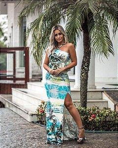 Vestido estampa floral azul a cara do verão