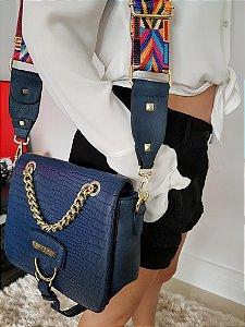 Bolsa em couro eco croco marinho e duas alças removíveis