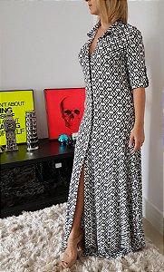Vestido longo geométrico lindo