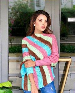 Poncho  em tricot  colorful