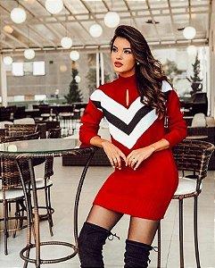 Mini vestido tricot chevron