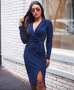 Vestido gola alfaiate e fenda - Azul