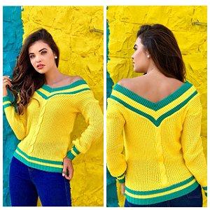 Tricot maravilhoso verde e amarelo