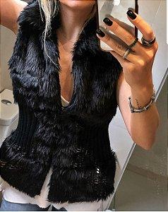 Colete acinturado pêlinho e tricot - Cor preta