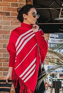 Poncho Stripes - Vermelho