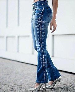 Calça jeans glow strass