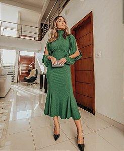Vestido midi com abertura na manga - Verde