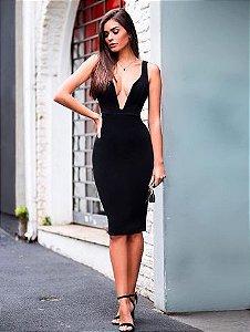 Vestido midi decote profundo  - Preto