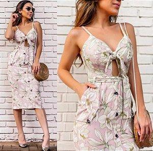 Vestido midi floral em linho