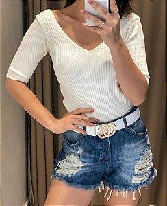 Blusa basiquinha em tricot canelado - Off white