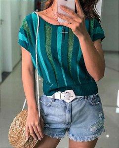 Cropped em tricot modal e transparência - Verde