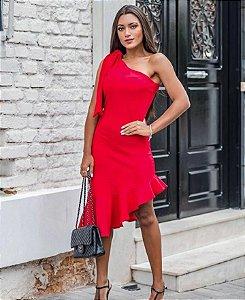 Vestido um ombro só Naty - Vermelho