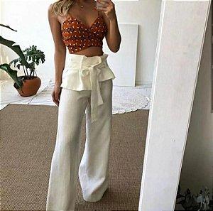 Calça pantalona musa de linho - Crú