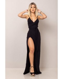 Vestido longo envelope - Preto