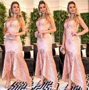 Vestido longo de festa Diamond - Rosa