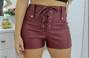 Shorts com detalhes de ilhós - Marsala