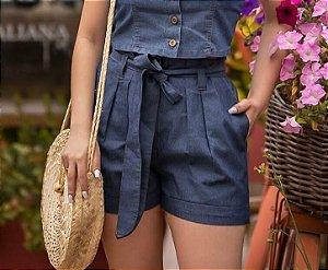 Shorts jeans com faixa na cintura