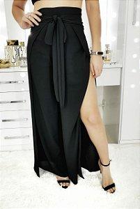 Calça pantalona envelope em crepe preto