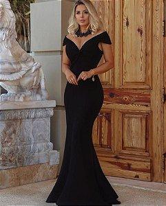 Vestido longo em malha crepe Lorena - Preto
