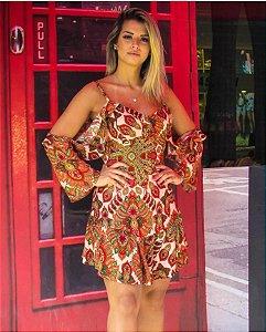 Vestido em viscose com estampa maravilhosa - Mandalas