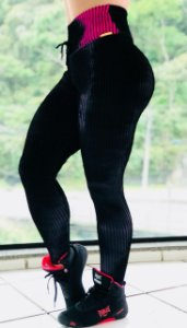 Calça legging fitness tye dye black white pink - tamanho único