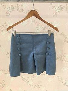 Mini saia Scuba com detalhe de botões - Azul