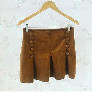 Mini saia Scuba com detalhe de botões - Marrom