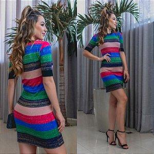 Vestido em modal listras coloridas com lurex