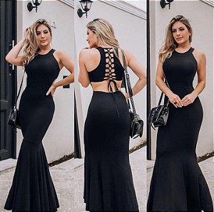 Vestido Sereia trançado - Preto
