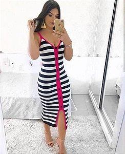 Vestido em modal listras + pink