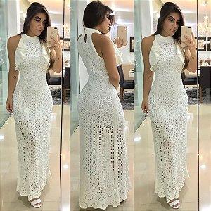 Vestido longo em tricot  - branco