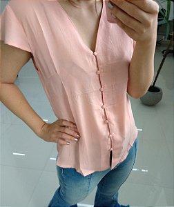 Blusa de manguinha com botões forrados - rosê