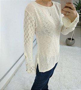 Blusa manga longa em tricot com detalhes na manga - off white