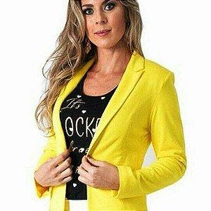 Blazer em sarja com elastano - Amarelo