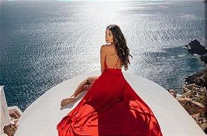 Vestido glam new crepe - Vermelho