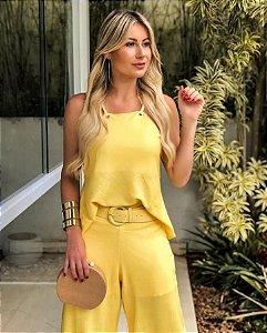 Conjunto em tecido creponado - Amarelo