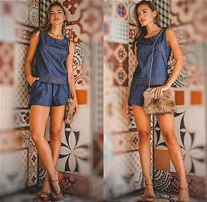 Shortinhos jeans comfy com cós de elástico - Lavagem escura
