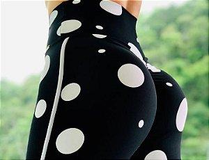 Calça legging fitness levanta bumbum estampa exclusiva maxi poá - tamanho único