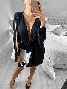 Vestido laço em new crepe - Preto