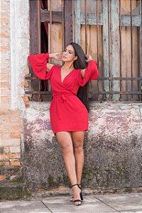 Vestido laço em new crepe - Vermelho