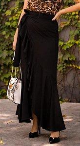 Saia longa  pareô com babados em viscose Jacquard - Preta com desenho texturizado