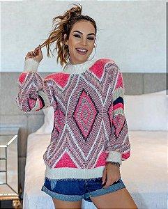 Blusa manga longa de tricot com fio angorá maravilhosa