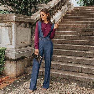 Macacão longo pantalona em jeans com elastano - Amanda