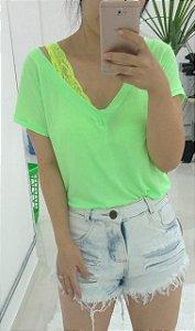 T-shirt podrinha em poliamida - Verde neon
